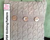 Cable knit pillow cover pattern, Cascading Cable 16 x 16 pillow cover - PDF KNITTING PATTERN