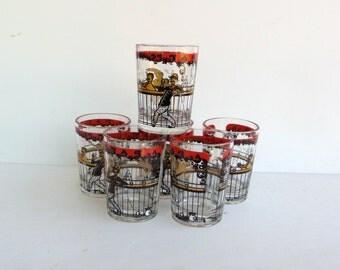 Hazel Atlas Glasses - Whiskey Shot Glasses - Gay Bar Pattern - Red and Black Shot Glasses