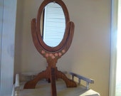 Folk Art Handpainted Wooden Hand Mirror
