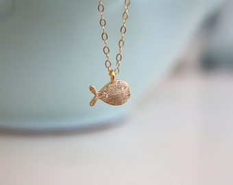 Gold Necklace, Tiny gold fish necklace, dainty gold necklace, simple gold necklace on 14k gold filled chain, pisces necklace, swimmer gift