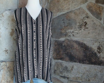 90s SLOUCHY TRIBAL VEST vintage oversized geometric shirt L