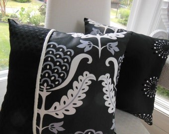 Black Decorative Pillow - Black and White Candelabra Reversible Pillow - 15 x 15 Inch - Spiral Embroidery - Jacquard Dots