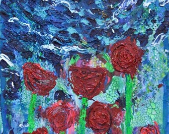 Roses by Megan Bishop. Acrylic and mixed media on wood panel