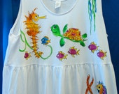 Handpainted Tropical Sealife Dress with Pockets for Women and Plus Sizes