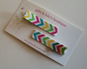 Chevron Hair Clips - No Slip Clips - Great Birthday Party Favor - Little Girl Hair Accessory - bright colors