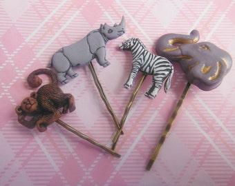 Zoo Animals Hair Clips/ Bobby Pin.
