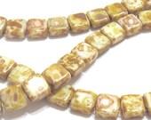 Czechmate Tile Beads by Preciosa Opaque White Picasso