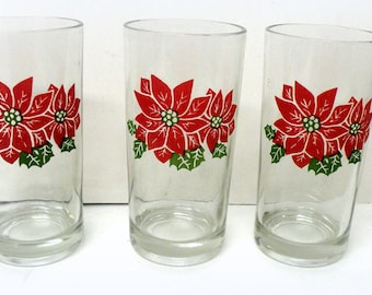 6 Christmas Glass Tumbler-  Xmas Decorations- Home Country Drinkware