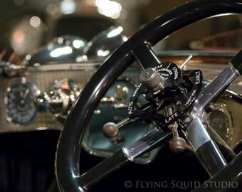 Classic Car Photo:10x8 Color (or B&W) Photograph of a 1921 Rolls Royce Silver Ghost Steering Wheel/Dash. Antique Car Art, Vintage Car Art
