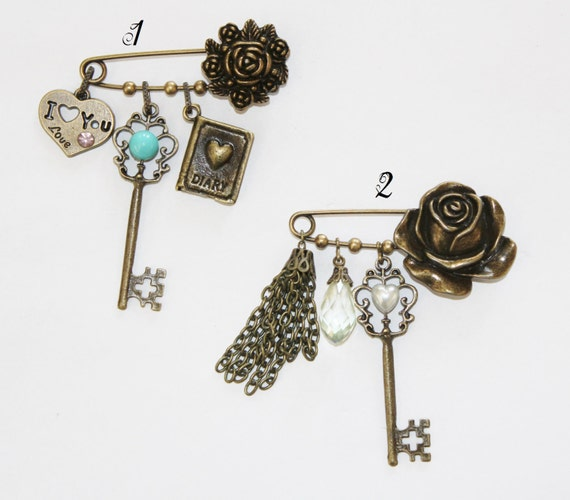 brooch, kilt pin, safety pin charm collection, charm collection brooch, safety pin charm collection