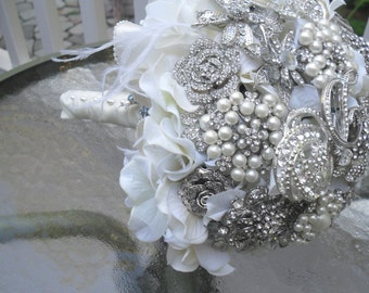 Large Brooch and Jeweled Bouquet  on Silk Hydrnagea ... Made to Order