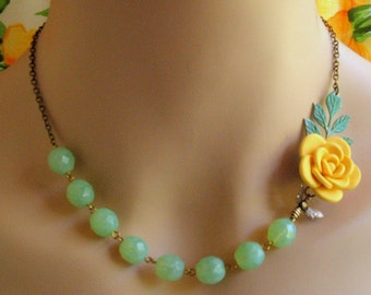 Yellow flower mint statement necklace, asymmetrical floral necklace, Mother's day gift Bridesmaid gift, Rustic boho wedding  bee buttercup