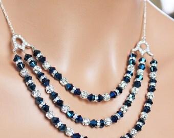 Metallic Bermuda Blue Bridal Necklace, Blue Crystal Wedding Necklace, Rhinestone Mother of the Bride Wedding Jewelry