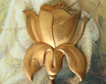Vintage Art Deco Floral Tiger Lily Old Brass Piece