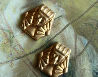 2 Vintage Old Brass Egyptian Revival Dainty Pharaoh Pieces
