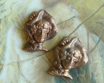 2 Vintage Brass Victorian Woman Pieces