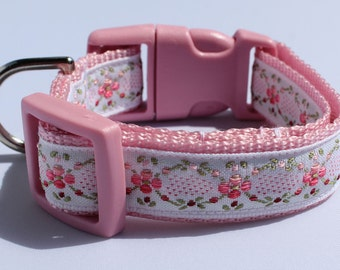 Pink Floral Woven Ribbon  Dog Collar Size XS or S