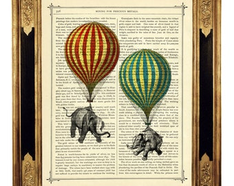 Elephants hot air balloons Steampunk Art Print - Vintage Victorian Book Page Art Print