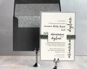 "Glitter Wedding Invitations, Silver Glitter Wedding Invitations, Glitter Envelope Liners, Glitter Wedding - ""Silver & Glitter"" Sample"