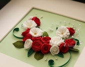Reserved for Mary Ann Set of 3 Unique Red , Pink Roses and Daisy Framed Wall Arts  Heart shaped art with Paper Quilling