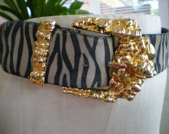 Now on sale- Vintage Boutique Zebra Print Leather Belt with Huge Gold Buckle