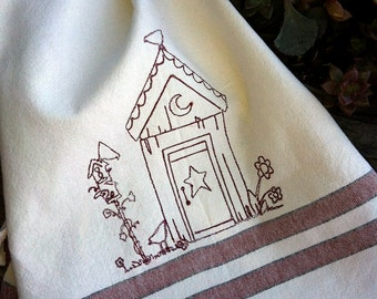 Redwork Primitive Outhouse embroidered cotton towel