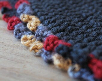 Hand crochet autumn hat / cottage chic / cotton / brimmed hat / indigo blue / red / beige / pastel picot edge / rustic for her / USA cotton