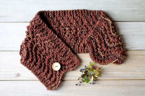 Hand knit chunky scarf / rustic neck warmer / capelet neck cozy scarf / woodland inspired / country style scarf / warm brown / super bulky