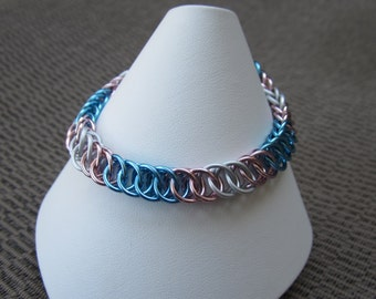 Transgender Pride Bracelet (SMALL) - Half Persian 4in1 - Aluminum Chainmaille Jewelry