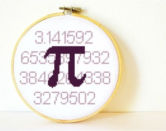 Counted Cross stitch Pattern PDF. Instant download. Pi 3.14... Includes easy beginners instructions.