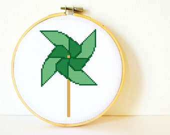 Counted Cross stitch Pattern PDF. Instant download. Pinwheel. Includes easy beginners instructions.
