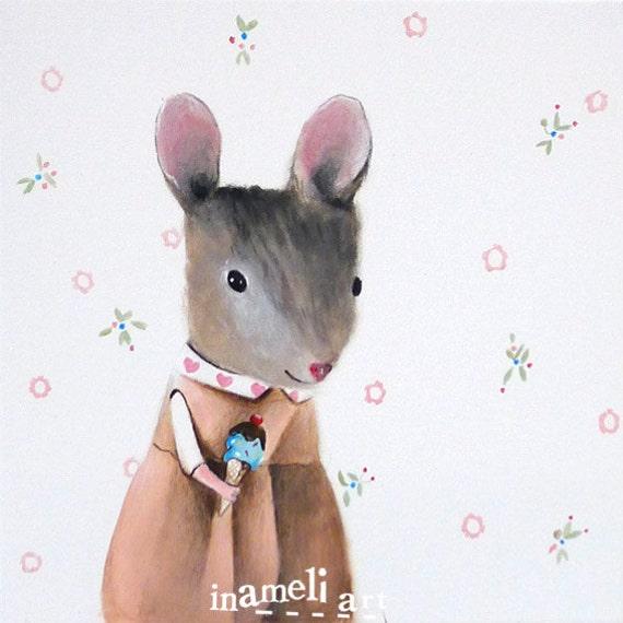 Nursery art, art painting, children's wall art, mouse, nursery decor, girls room decor, mouse wall art,