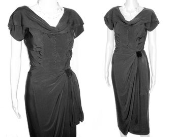 Vintage 1950s Black . Dress Mod Hourglass Couture XS Femme Fatale Garden Party Mad Man Cocktail Pinup Bombshell Rockabilly Wiggle