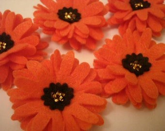 Set of 5pcs handmade felt Daisy - orange/brown (DA)