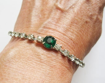 Vintage Green and Rhinestone Bracelet Art Deco Wedding