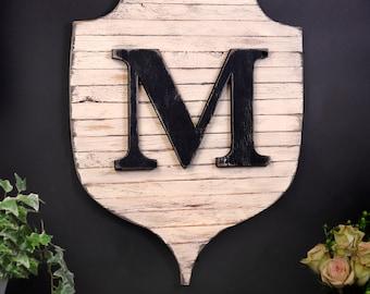 Letter Wall Decor Shield Letter Family Monogram Shield Pallet Modern Farmhouse Decor Fall Autumn