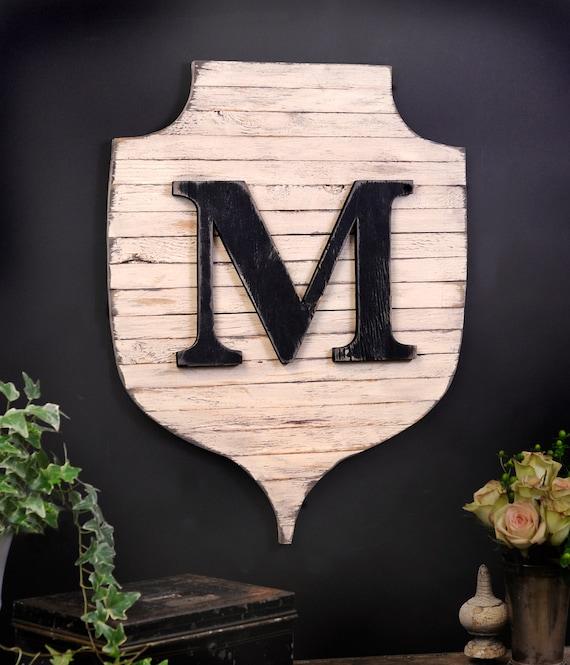 Letter Wall Decor Shield Letter Family Monogram Shield Pallet