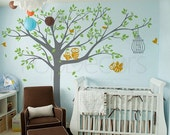 Nursery Tree Wall Decals Owls Wall Stickers Baby Wall Decal - Nursery Tree with Cute Owls B - Free Squeegee and color change - Playroom Arts