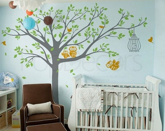 Nursery Tree Wall Decals, Owls Wall Stickers, Baby Wall Decal - Nursery Tree with Cute Owls B - Nursery Tree Decal, Baby Owl Decal PT-0200-B