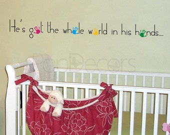 He's got the whole world in his hands - Words and Letters Decal