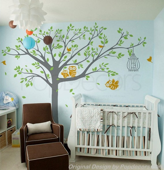 Nursery tree wall decals owls wall stickers baby wall decal for Baby nursery tree mural