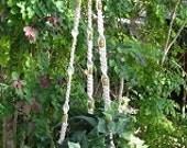 Cream Beige Variegated Beads 56 1/2 Inch Macrame Plant Hanger