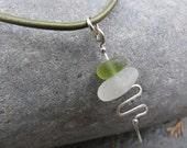 English Sea Glass and Silver pendant in green and white, olive green, moss green. Olive green leather necklace