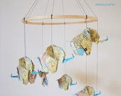 Origami Elephant Mobile from Map Paper, Elephant Mobile, Baby Mobile, Baby Nursery