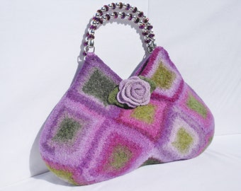Purple and Green Felted Wool Bag  Purse  Fiber Art Granny Square Handbag crochet purse removeable Rose Brooch