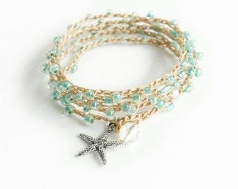 Starfish Crochet Wrap Bracelet Starfish Beach Bracelet Friendship Bracelet Beaded Crochet Necklace Crochet Bracelet Boho Mermaid Gift