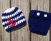 RUSH READY Baby Boy Sailor Hat set Beanie diaper newborn Anchor Crochet Props Photo Prop Hats Sailor Navy Naval military patriotic americana