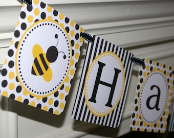 Bee Happy Birthday Banner, Bumble Bee Birthday Banner, Bee Party Banner (BEYB-1) (Yellow, Black & White) by The Party Paper Fairy