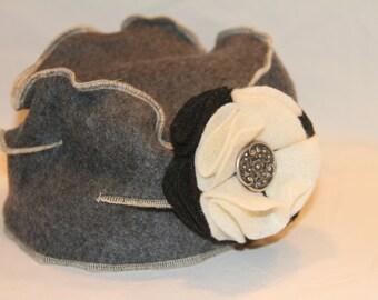 Dark Grey Fleece Pillbox Hat