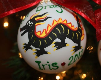 Black Dragon Custom Personalized Ornament hand-painted and Made to Order